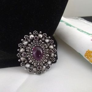 Vintage brooch faux pearl amethyst glass pin